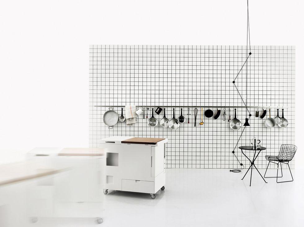 Il segreto di una cucina a scomparsa bella e funzionale per un monolocale